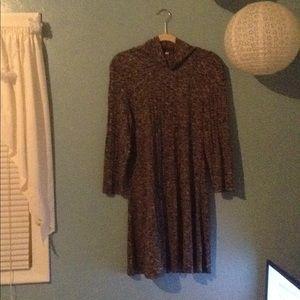 AEO Grey Mock-Neck Long Sleeve Tunic Dress